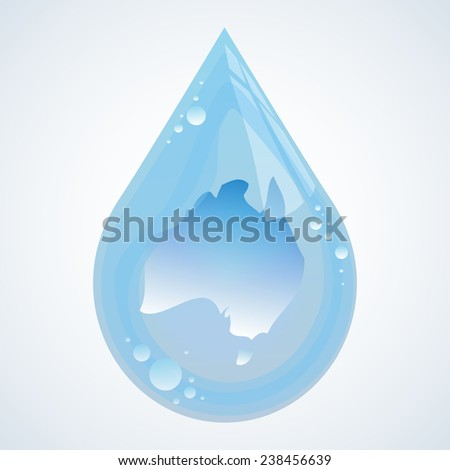 Illustration of drop of water with Australia continent within it - stock vector