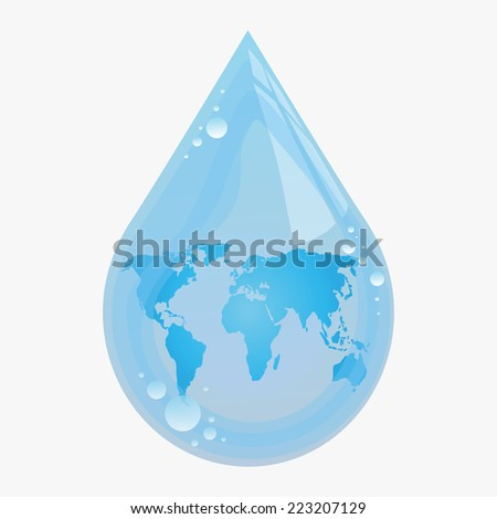 Illustration of drop of water with continents within it - stock vector