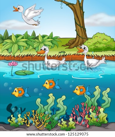 Illustration of duck and fishes - stock vector