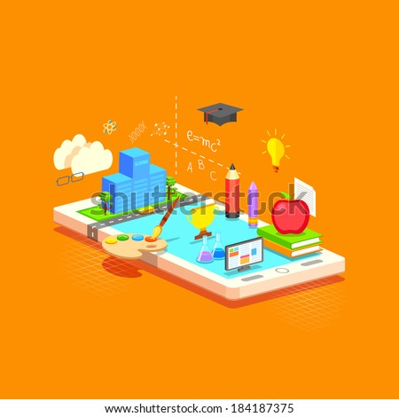 illustration of e learning concept on mobile in flat style - stock vector