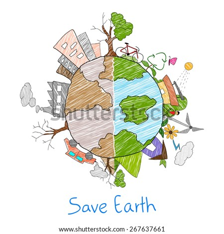 illustration of Earth as green environment and distructed - stock vector