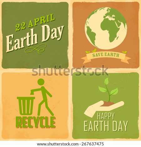 illustration of Earth Day background in retro style - stock vector