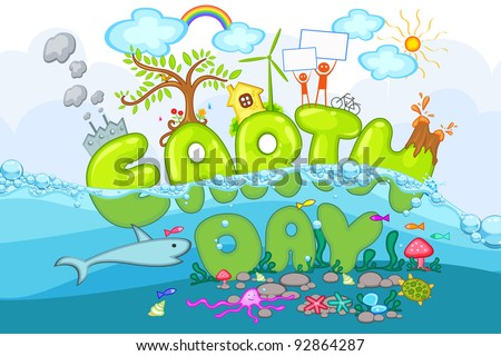 illustration of earth day with world under and above sea - stock vector