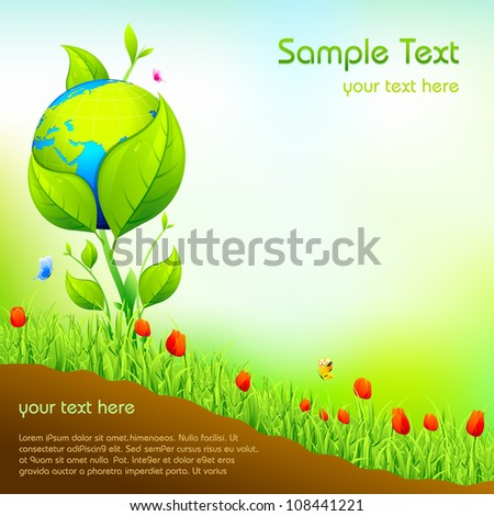 illustration of earth growing in nature garden with flower plant - stock vector