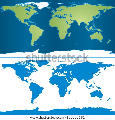Illustration of Earth map in cylindrical Mercator projection - stock vector