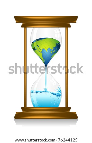 illustration of earth melting in water inside hour glass showing global warming - stock vector