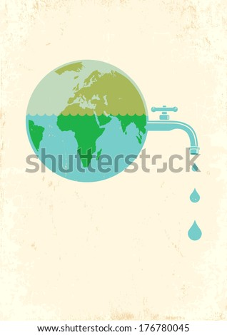 Illustration of Earth with water tap - stock vector
