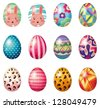 Illustration of easter eggs with colorful designs on a white background - stock photo