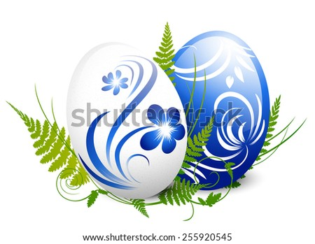 Illustration of Easter Gzhel Decorated Eggs With Green Fern Over White - stock vector