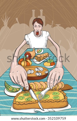 Illustration of eating man. There is a very long table with food. Religion out of food - stock vector
