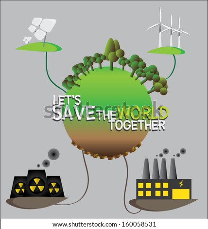 illustration of Eco environmental issues. save the world - stock vector