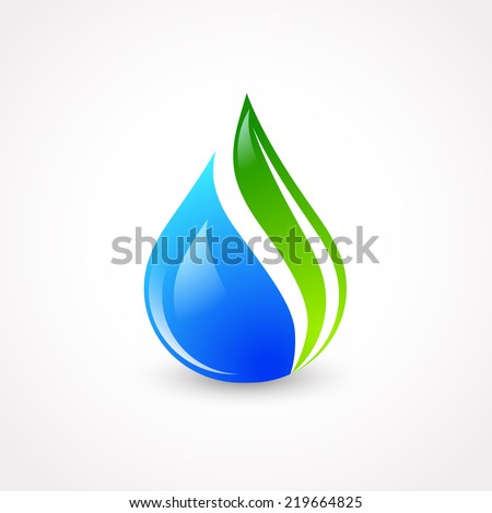 Illustration of Eco Water Drop With Green Leaf - stock vector