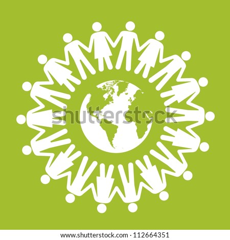 illustration of ecological icons around people, vector illustration - stock vector