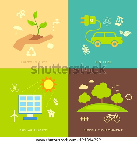 illustration of Ecology concept in flat style - stock vector
