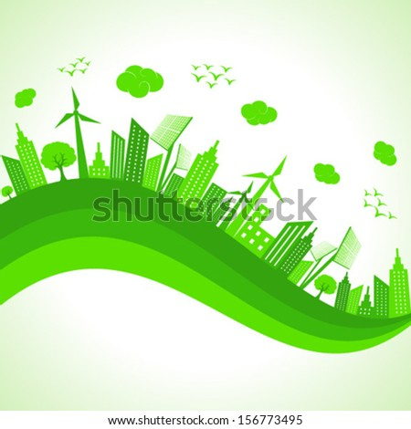 Illustration of ecology concept- save nature  - stock vector