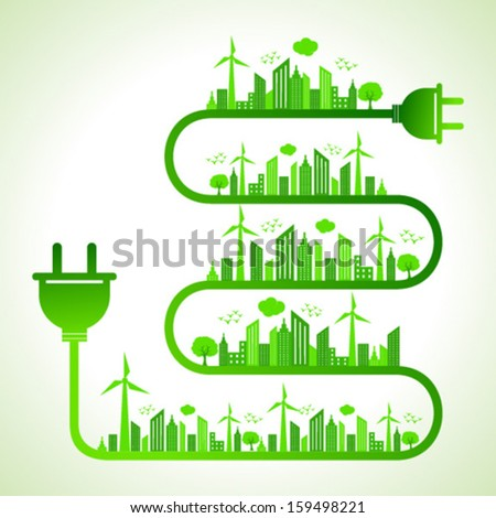 Illustration of ecology concept with electric plug - save nature - stock vector