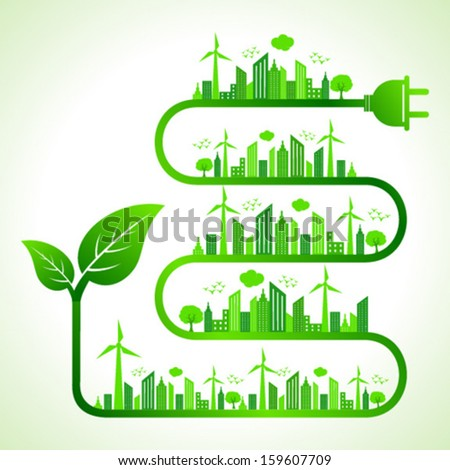 Illustration of ecology concept with leaf icon- save nature - stock vector
