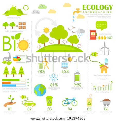 illustration of Ecology Infographics chart in flat style - stock vector