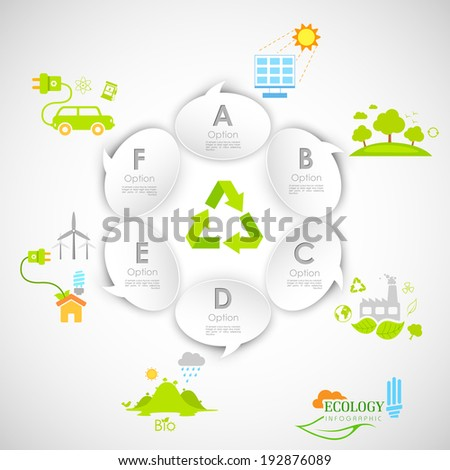illustration of ecology infographics with chat bubble - stock vector