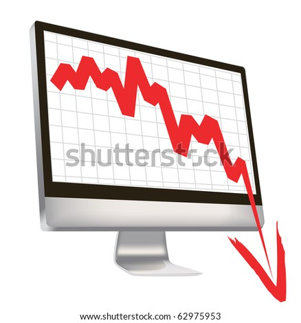 illustration of economic crisis, with red arrow break outs of computer monitor. - stock vector