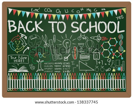 illustration of education and back to school concept design element collection set written on blackboard background vector, eps10 - stock vector