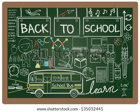 illustration of education and back to school, knowledge design icon element collection set written on blackboard background vector, eps10