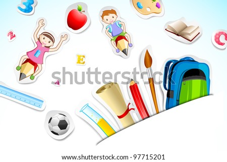 illustration of education object with kids flying on pencil - stock vector