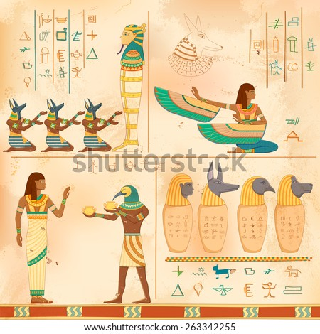 illustration of Egyptian art of human engraved on vintage wall - stock vector