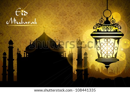 illustration of Eid Mubarak greeting with illuminated lamp - stock vector