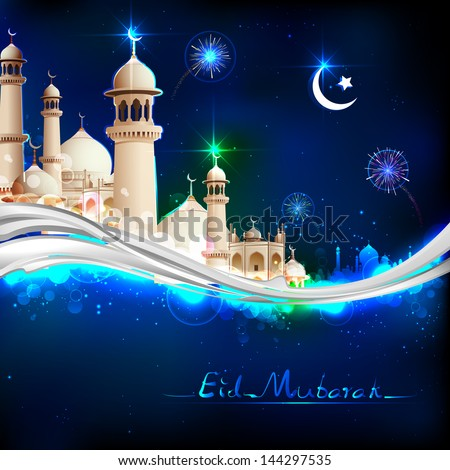 illustration of Eid Mubarak (Happy Eid) background with mosque - stock vector