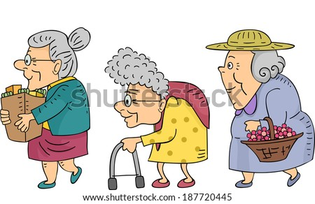 Illustration of Elderly Women Walking in a Line - stock vector