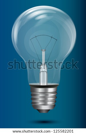 illustration of electric bulb on blue background - stock vector