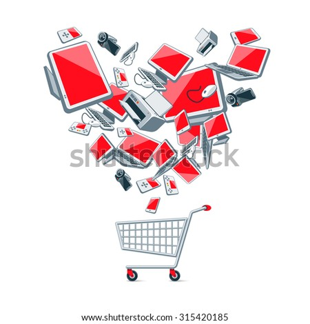 Illustration of electronic devices in heart shape organization above an empty metal wire push shopping cart. - stock vector