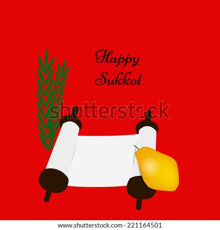 Illustration of elements isolated on red background for Sukkot - stock vector
