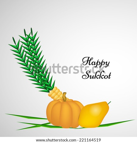 Illustration of elements isolated on white background for Sukkot - stock vector