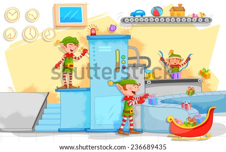 illustration of Elf making Christmas gifts in toy factory - stock vector