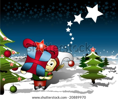 Illustration of Elf with gift for Christmas night - stock vector