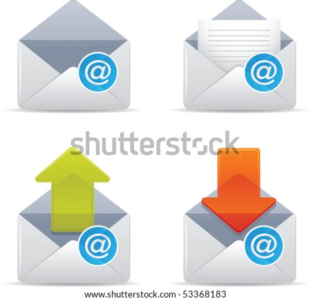 Illustration of email icons - stock vector