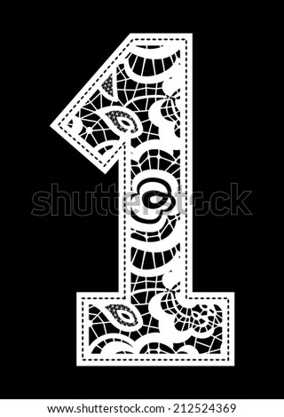 illustration of embroidery lace number isolated on black background - stock vector