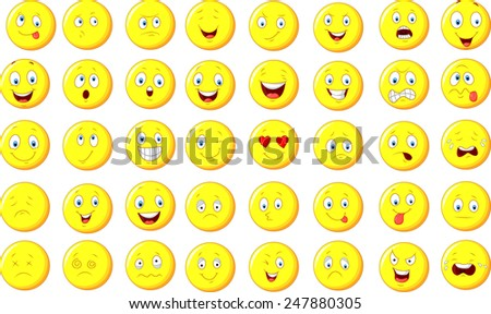 Illustration of emoticon set - stock vector