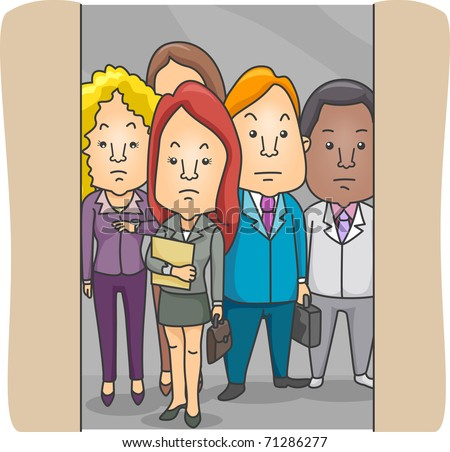 people in elevator clipart. illustration of employees in an elevator people clipart t