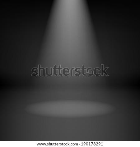 Illustration of empty dark room with highlight - stock vector
