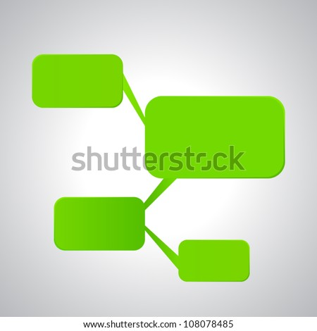 Illustration of empty flow chart diagram on gray white background - stock vector