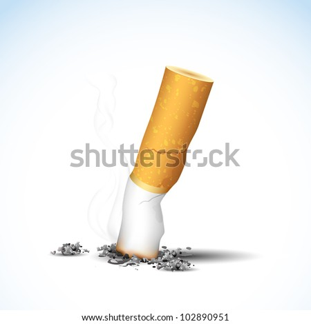 illustration of end of burning cigarette on white background - stock vector