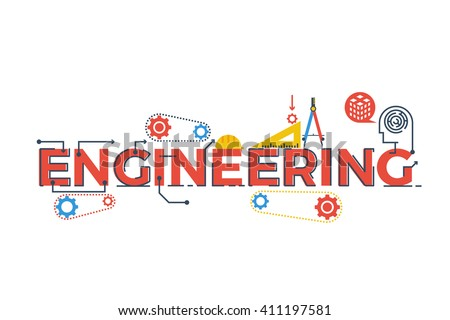Illustration of ENGINEERING word in STEM - science, technology, engineering, mathematics education concept typography design with icon ornament elements - stock vector