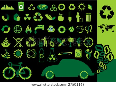Illustration of environmental and recycle icons - stock vector