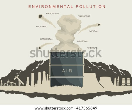illustration of environmental pollution in the atmosphere - stock vector