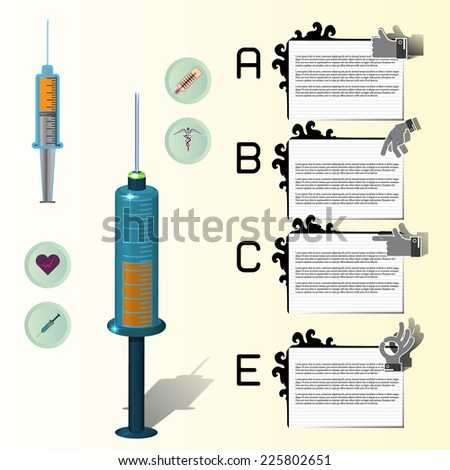 illustration of equipment and medicine in medical infographic - stock vector