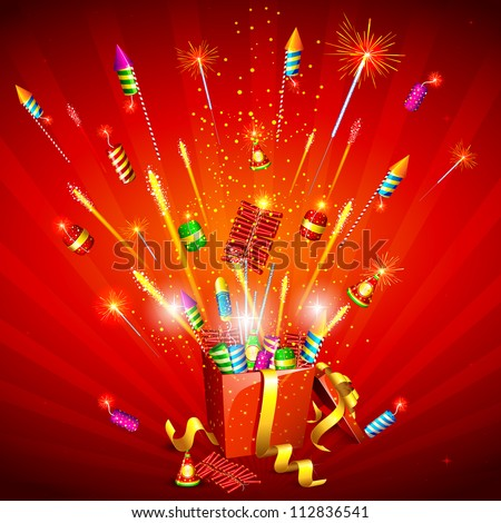 illustration of explosion of firecracker from gift box - stock vector