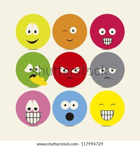 Illustration of expressions icons, with different gestures, vector illustration - stock vector